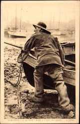 Postcard Bretagne, À la Mer, Mise à l'eau du Canot, Bretonischer Fischer