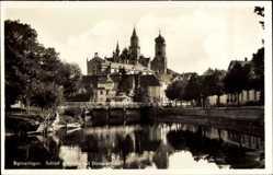 Postcard Sigmaringen, Blick auf das Schloss, Kirche, Donaubrücke, Turm, Boot