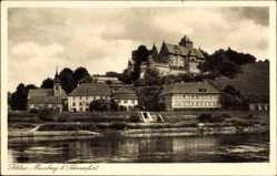 Postcard Mainberg Schonungen, Blick auf das Schloss, Flusspartie