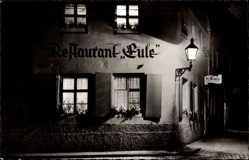 Postcard Bayreuth, Restaurant Eule, Künstlerkneipe, Inh. Hans Meyer, Laterne, Nacht
