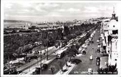 Postcard Lisboa Lissabon Portugal, Avenida 24 de Julho, Straßenverkehr am Hafen