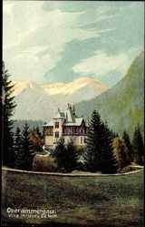 Postcard Oberammergau, Blick auf die Villa Hillern, Noth, Berge, Wald, Straße