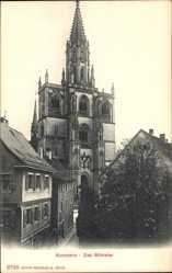 Postcard Konstanz, Blick auf das Münster, gothischer Baustil, Glockenturm