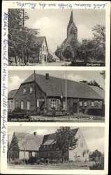 Postcard Ramsloh Saterland in Niedersachsen, Kobs Gasthof, Schule, Kirche