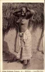 Ansichtskarte / Postkarte Afrique Occidentale Francaise, Senegal, Jeune Fille Cérère, Barbusig