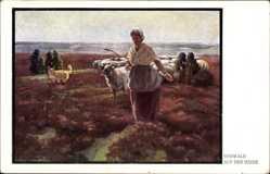 Künstler Ak Osswald, Auf der Heide, Hirtin mit ihrer Schafherde, Hirtenhund