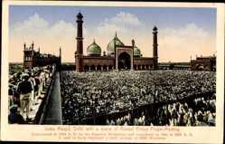Postcard Delhi Indien, Juma Masjid, Annual Friday Prayer Meeting