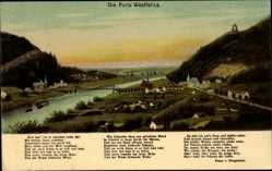 Postcard Porta Westfalica, Stadtpanorama, Brücke, Flusspartie, Berge