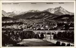 Postcard Traunstein in Oberbayern, Panorama der Stadt, Brücke, Kirche, Alpen