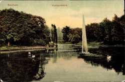Postcard Bochum im Ruhrgebiet, Blick auf den Stadtparkteich, Fontäne, Schwäne