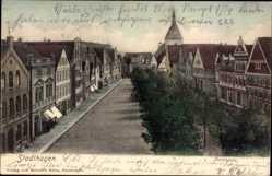 Postcard Stadthagen, Stadtpanorama, Glockenturm, Straßenpartie, Bäume