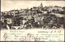 Postcard Luxemburg, Descente de Clausen, Blick auf die Stadt mit Straßenpartie
