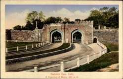 Postcard Delhi Indien, Kashmiri Gate, Straßenpartien am Tor