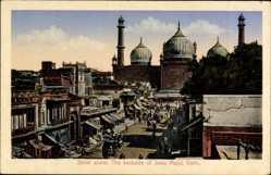Postcard Delhi Indien, Street scene, The backside of Juma Majid