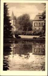 Postcard Birkenau im Odenwald, Blick vom Teich auf Haus und Kirche