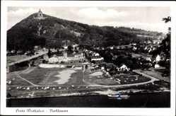 Postcard Porta Westfalica in Nordrhein Westfalen, Blick auf den Ort mit Denkmal