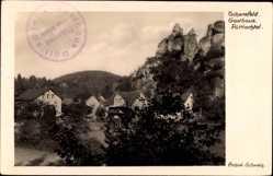 Postcard Tüchersfeld Pottenstein Kr. Bayreuth Oberfranken, Gasthaus Püttlachtal,Felsen