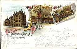 Litho Dortmund im Ruhrgebiet, Gruß vom Deutschen Haus, Innenansicht, Straße