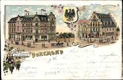 Wappen Litho Dortmund im Ruhrgebiet, Neues Rathaus, Restaurant C. Merkert