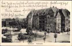 Postcard Dortmund im Ruhrgebiet, Blick auf den Kaiserplatz, Wohnhäuser, Brunnen