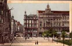 Postcard Dortmund im Ruhrgebiet, Blick in den Westenhellweg, Tram, Geschäfte