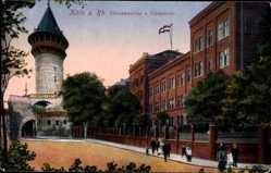 Postcard Köln Rhein, Ulrichkaserne und Ulrepforte, Turm, Menschen