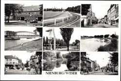Postcard Nienburg an der Weser, Bahnhof, Stadion, Georgstraße, Weserbrücke