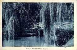 Postcard Montevideo Uruguay, Prado, Holzbrücke, Trauerweiden