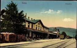 Postcard Ruttek Vrútky Slowakei, Die Gleisseite des Bahnhofes
