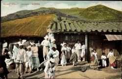 Postcard Chusan Korea, Village Street, Dorfstraße, Koreaner