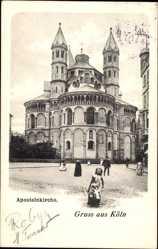 Postcard Köln am Rhein, Blick von außen auf die Apostelnkirche