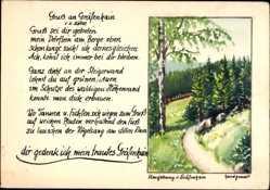 Handgemalt Ak Gräfenhain in Thüringen, Umgebung des Ortes