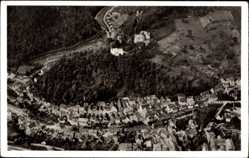 Postcard Hornberg Schwarzwald, Fliegeraufnahme vom Ort mit Burg