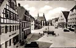 Postcard Feuchtwangen auf der Frankenhöhe, Kurt Bräunlein, Marktplatz, Brunnen