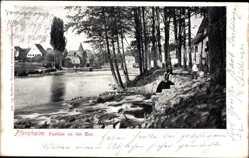 Postcard Pforzheim im Schwarzwald, Blick vom Ufer auf die Ahr