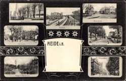 Postcard Heide in Holstein, Bahnhof, Westerweide, Friedrichstraße, Kriegerdenkmal