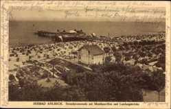 Postcard Seebad Ahlbeck, Strandpromenade, Musikpavillon, Landungsbrücke