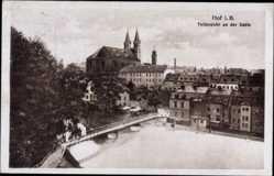 Postcard Hof an der Saale Oberfranken Bayern, Teilansicht an der Saale,Michaeliskirche