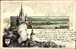 Künstler Litho Biese, C., Lindau Bodensee, Diebsturm mit Peterskirche, Wasser
