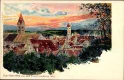 Künstler Ak Bergen, Fritz, Kaufbeuren, Blick von Blasiuskirche aus, Dämmerung