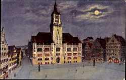 Postcard Stuttgart, Partie am Rathaus, Mondlicht, Laternen