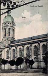 Postcard Kandel im Bienwald Kreis Germersheim, Blick auf die Kirche, Seitenansicht