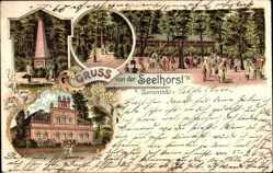 Litho Bemerode Hannover, Ansichten vom Seelhorst, Denkmal