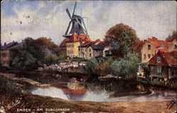 Künstler Ak Siehl, Emden in Ostfriesland, am Burggraben, Windmühle, Tuck 7043