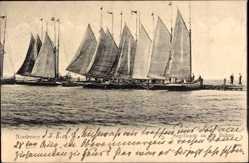 Postcard Norderney in Ostfriesland, Segelboote an der Buhne