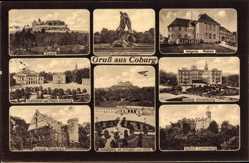 Postcard Coburg in Oberfranken, Veste, Hofgarten, Museum, Sintflutbrunnen