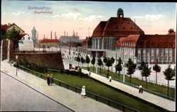 Postcard Dortmund im Ruhrgebiet, Blick zum Hauptbahnhof, Seitenansicht