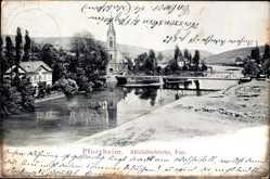 Postcard Pforzheim im Schwarzwald, Blick auf die Altstädterkirche mit der Enz