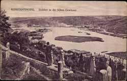 Postcard Konstantinopel Istanbul Türkei, Einfahrt in die Süßen Gewässer, kleine Insel