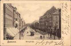 Postcard Hannover in Niedersachsen, Straßenbahn in der Königstraße